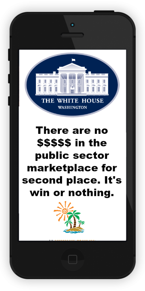 Public sector marketplace: There are no $$$$$ in the public sector marketplace for second place. It's win or nothing.